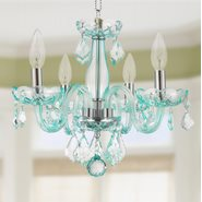 W83100C16-CB Clarion 4 Light Chrome Finish Coral Blue Crystal Chandelier