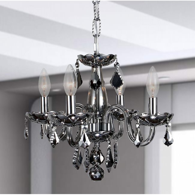 W83100C16-CH Clarion 4 Light Chrome Finish and Chrome Crystal Chandelier