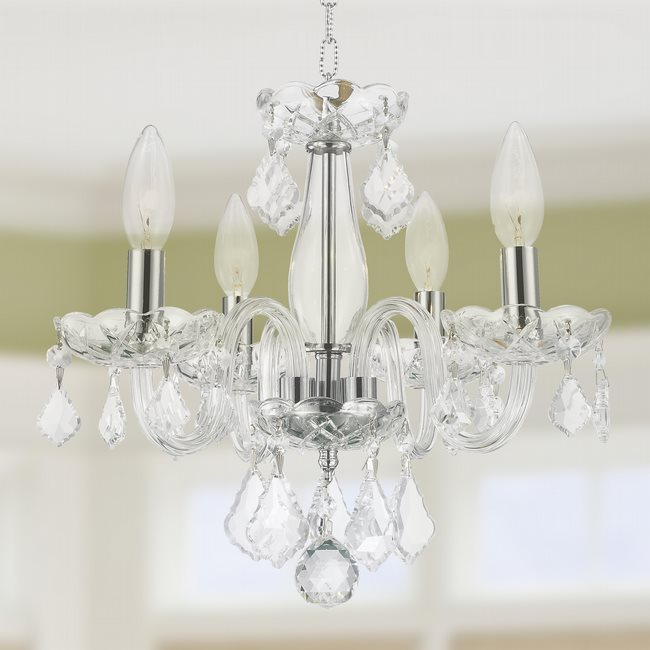 W83100C16-CL Clarion 4 light Chrome Finish with Clear Crystal Chandelier