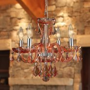 W83100C16-CR Clarion 4 Light Chrome Finish Coral Red Crystal Chandelier