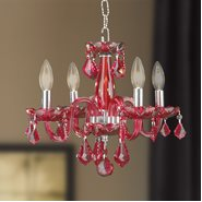 W83100C16-CY Clarion 4 Light Chrome Finish Cranberry Red Crystal Chandelier