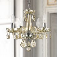 W83100C16-GT Clarion 4 Light Chrome Finish and Golden Teak Crystal Chandelier