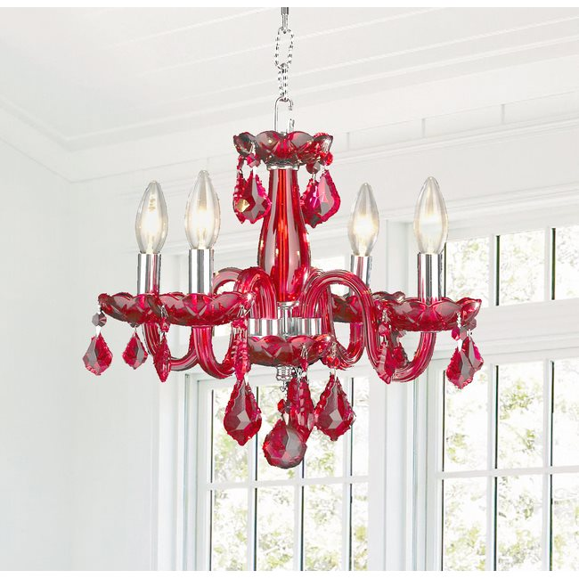 W83100C16-SB Clarion 4 Light Chrome Finish Strawberry Red Crystal Chandelier