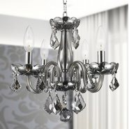 W83100C16-SM Clarion 4 Light Chrome Finish and Smoke Crystal Chandelier