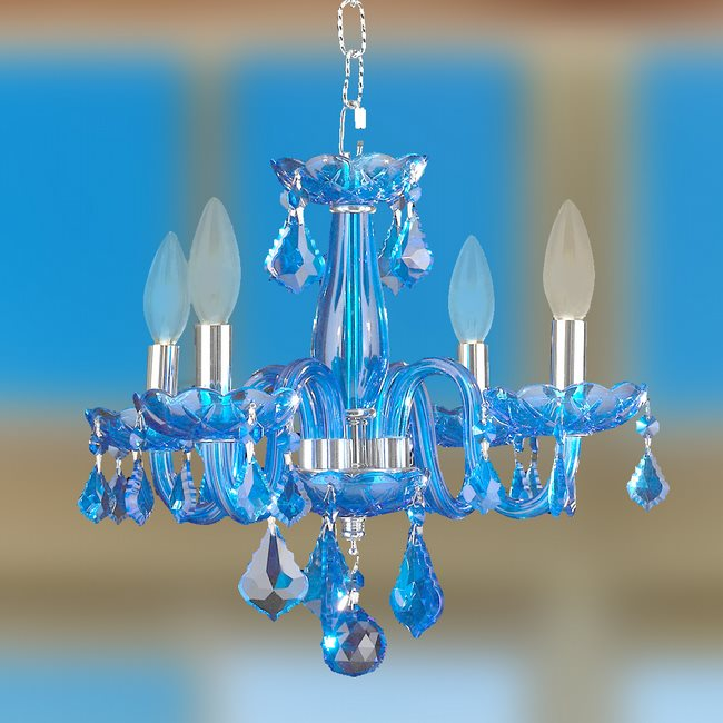 W83100C16-SP Clarion 4 Light Chrome Finish Sapphire Blue Crystal Chandelier