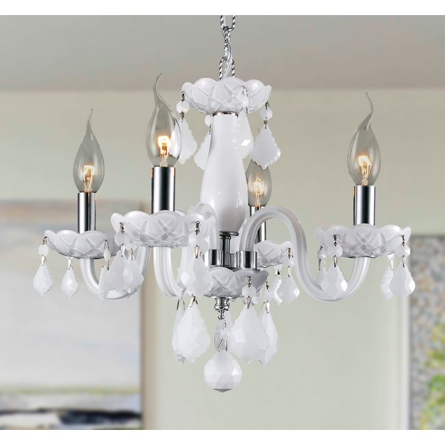 W83100C16-WH Clarion 4 Light Chrome Finish and White Crystal Chandelier