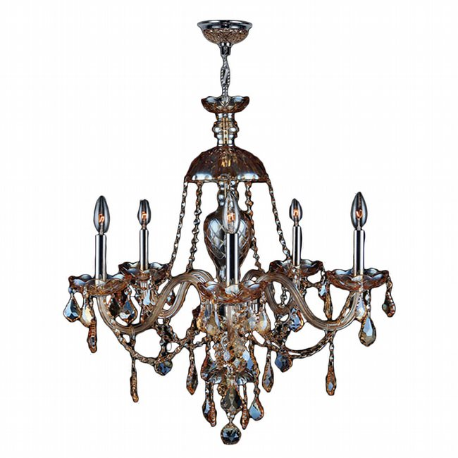 W83101C25-AM Provence 5 light Chrome Finish with Amber Crystal Chandelier - Discontinued