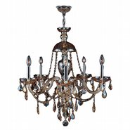 W83101C25-AM Provence 5 light Chrome Finish with Amber Crystal Chandelier