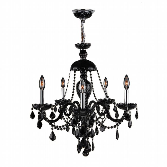 W83101C25-BL Provence 5 light Chrome Finish and Black Crystal Chandelier - Discontinued