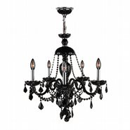 W83101C25-BL Provence 5 light Chrome Finish and Black Crystal Chandelier