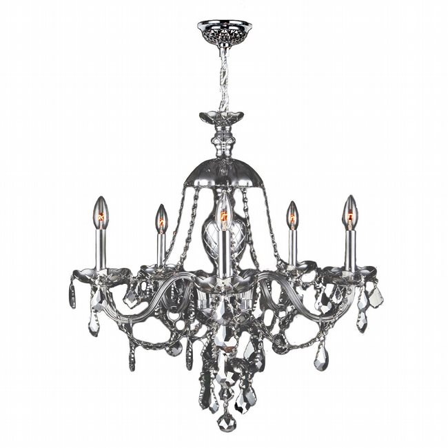 W83101C25-CH Provence 5 Light Chrome Finish and Chrome Crystal Chandelier - Discontinued