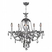 W83101C25-CH Provence 5 Light Chrome Finish and Chrome Crystal Chandelier