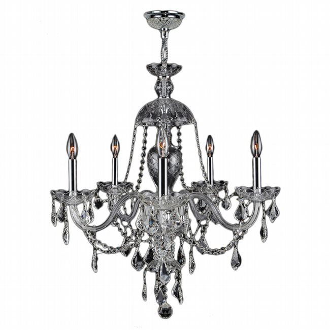 W83101C25-CL Provence 5 light Chrome Finish and Clear Crystal Chandelier