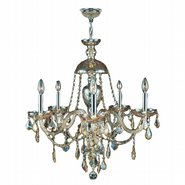 W83101C25-GT Provence 5 Light Chrome Finish and Golden Teak Crystal Chandelier