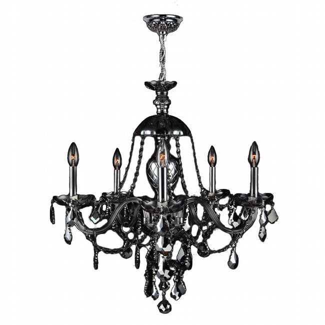 W83101C25-SM Provence 5 light Chrome Finish with Smoke Crystal Chandelier - Discontinued