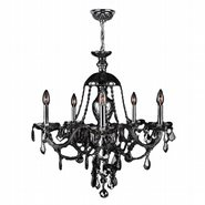 W83101C25-SM Provence 5 light Chrome Finish with Smoke Crystal Chandelier