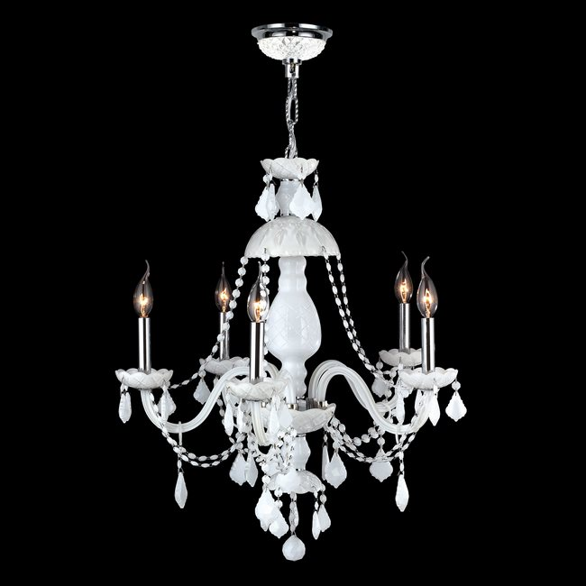 W83101c25 wh provence 5 light chrome finish and white crystal chandelier aloadofball Images