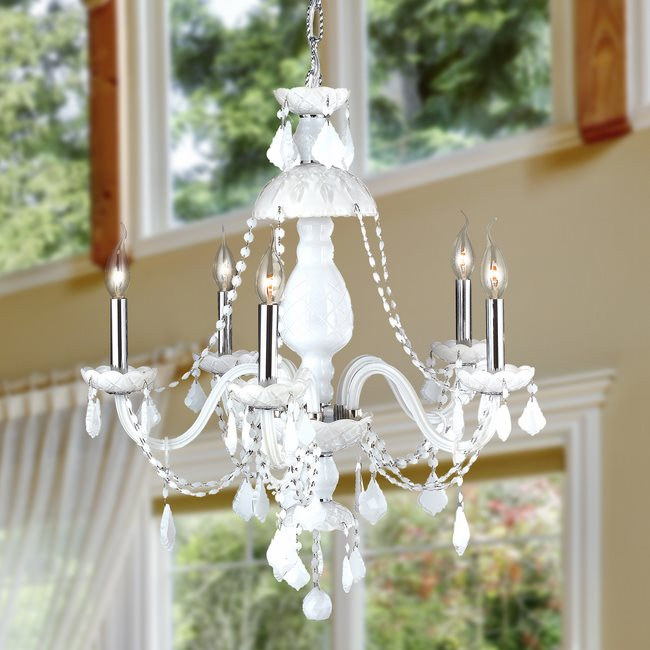 W83101c25 wh provence 5 light chrome finish and white crystal chandelier aloadofball Image collections