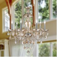 W83101C26-AM Provence 7 Light Chrome Finish with Amber Crystal Chandelier - Discontinued