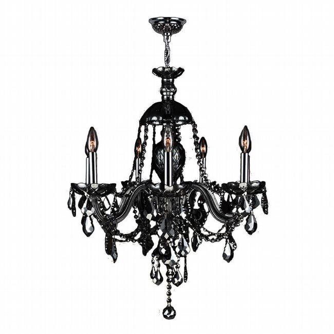 W83101C26-BL Provence 7 Light Chrome Finish and Black Crystal Chandelier - Discontinued