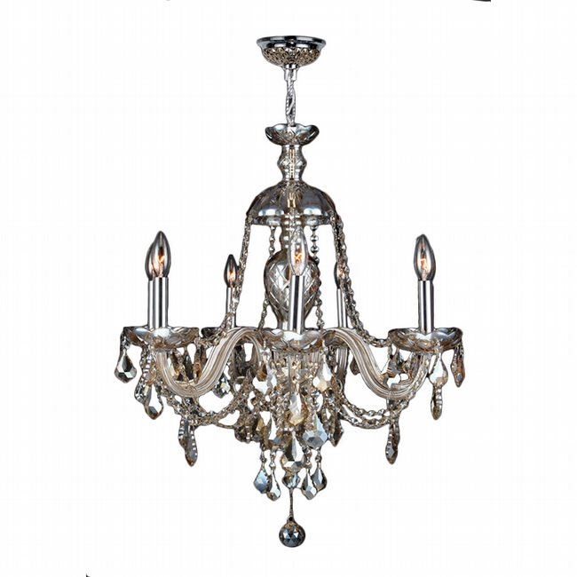 W83101C26-GT Provence 7 Light Chrome Finish and Golden Teak Crystal Chandelier - Discontinued