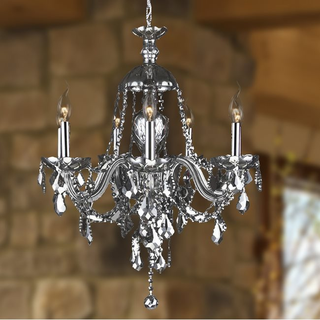 W83101C26-SM Provence 7 Light Chrome Finish and Smoke Crystal Chandelier - Discontinued