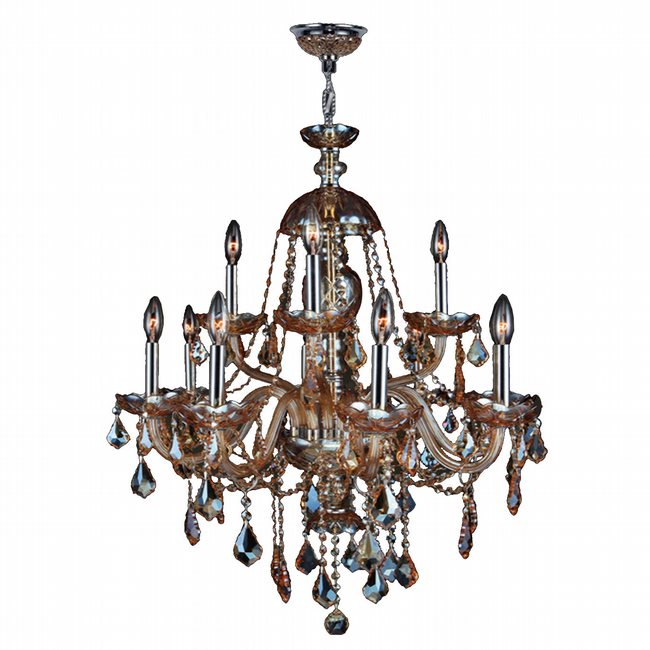 W83101C28-AM Provence 12 light Chrome Finish with Amber Crystal Chandelier - Discontinued