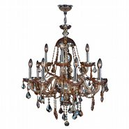 W83101C28-AM Provence 12 light Chrome Finish with Amber Crystal Chandelier