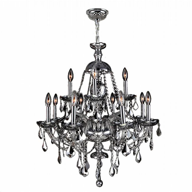 W83101C28-CH Provence 12 Light Chrome Finish and Chrome Crystal Chandelier Two 2 Tier