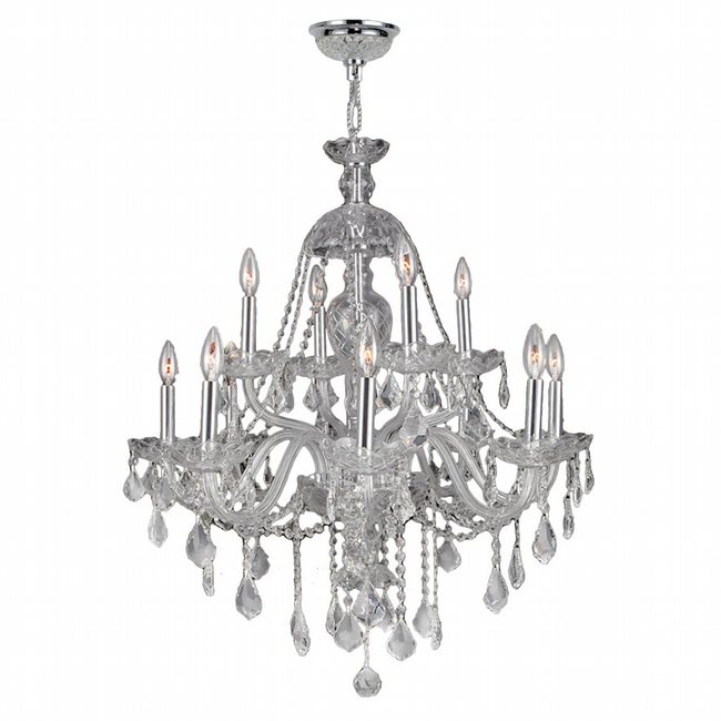 W83101C28-CL Provence 12 Light Chrome Finish and Clear Crystal Chandelier Two 2 Tier
