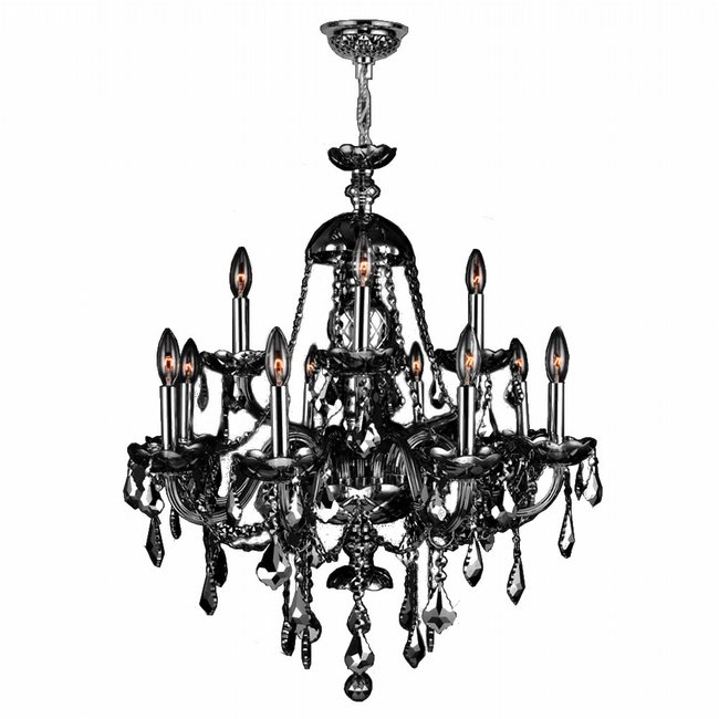 W83101C28-SM Provence 12 Light Chrome Finish with Smoke Crystal Chandelier