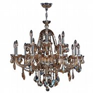 W83101C35-AM Provence 15 Light Chrome Finish and Amber Crystal Chandelier Two 2 Tier