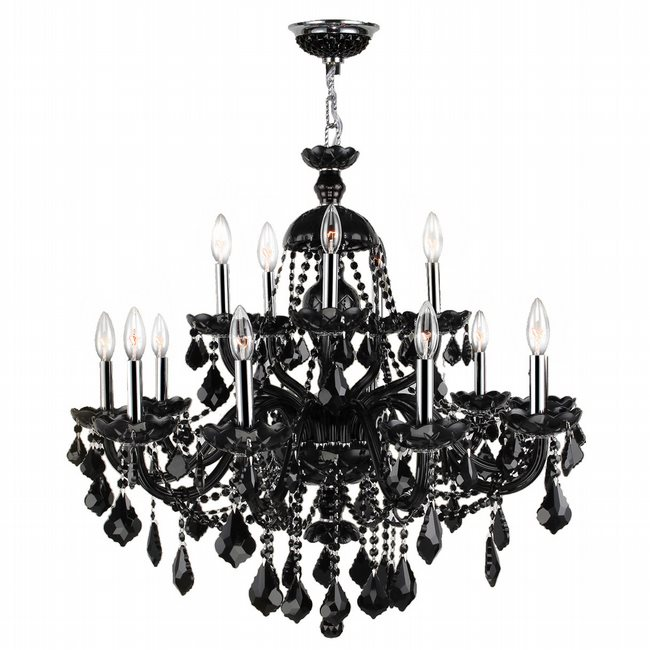 W83101C35-BL Provence 15 Light Chrome Finish and Black Crystal Chandelier - Discontinued