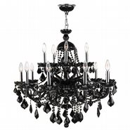W83101C35-BL Provence 15 Light Chrome Finish and Black Crystal Chandelier