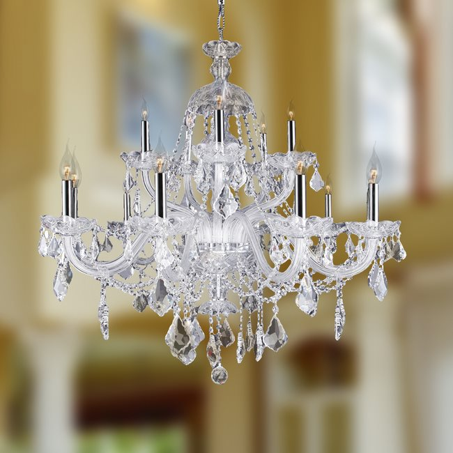 W83101C35-CL Provence 15 Light Chrome Finish and Clear Crystal Chandelier Two 2 Tier