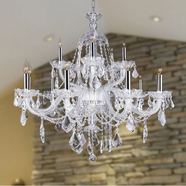 W83101c35 cl provence 15 light chrome finish and clear crystal w83101c35 cl provence 15 light chrome finish and clear crystal chandelier two 2 tier aloadofball Image collections