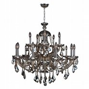 W83101C35-GT Provence 15 light Chrome Finish with Golden Teak Crystal Chandelier