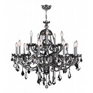 W83101C35-SM Provence 15 Light Chrome Finish and Smoke Crystal Chandelier Two 2 Tier