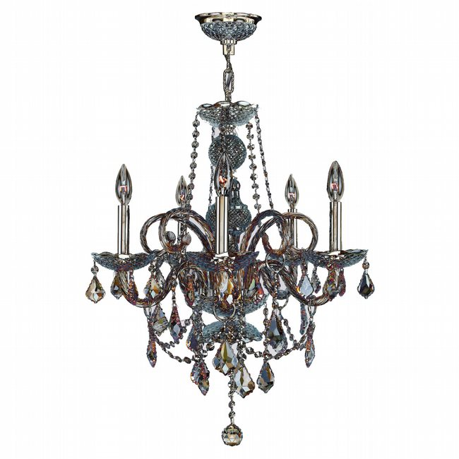 W83102C20-AM Provence 5 light Chrome Finish with Amber Crystal Chandelier