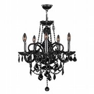W83102C20-BL Provence 5 light Chrome Finish with Black Crystal Chandelier