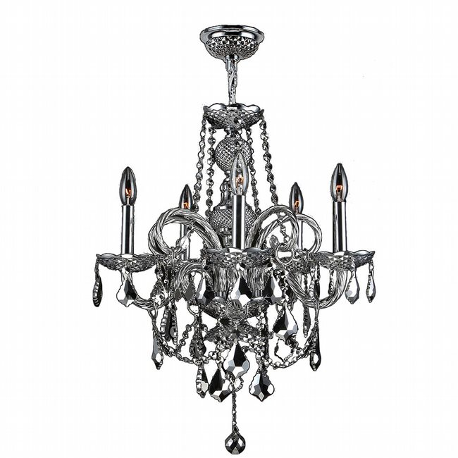 W83102C20-CH Provence 5 light Chrome Finish with Chrome Crystal Chandelier