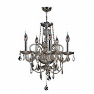 W83102C20-GT Provence 5 light Chrome Finish and Golden Teak Crystal Chandelier