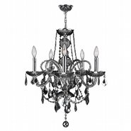 W83102C20-SM Provence 5 light Chrome Finish and Smoke Crystal Chandelier