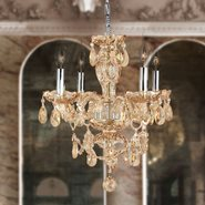 W83103C17-AM Provence 4 light Chrome Finish with Amber Crystal Chandelier