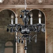 W83103C17-BL Provence 4 light Chrome Finish with Black Crystal Chandelier