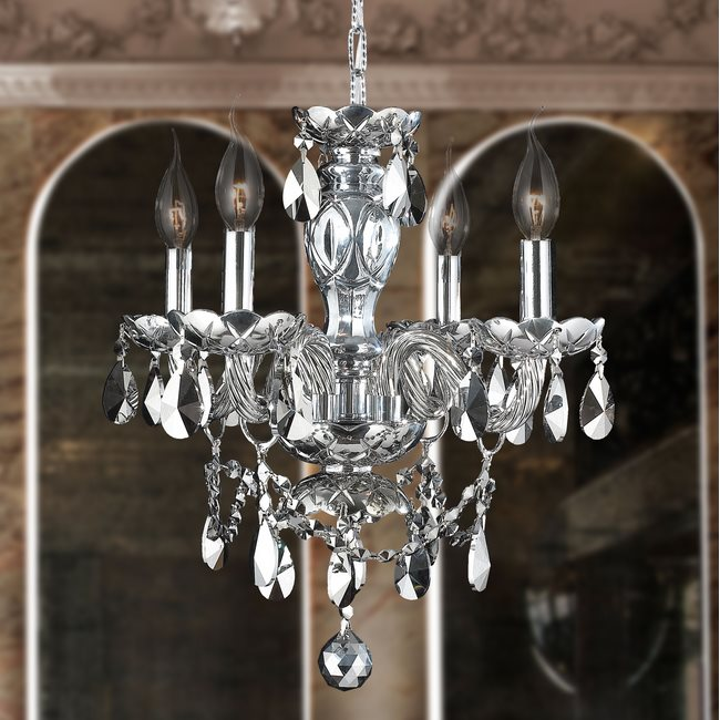 W83103C17-CH Provence 4 light Chrome Finish with Chrome Crystal Chandelier