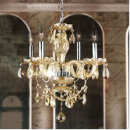 W83103C17-GT Provence 4 Light Chrome Finish and Golden Teak Crystal Chandelier