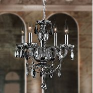 W83103C17-SM Provence 4 light Chrome Finish with Smoke Crystal Chandelier