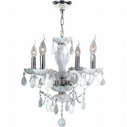 Provence 4 light Chrome Finish with White Crystal Chandelier