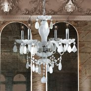 W83103C17-WH Provence 4 light Chrome Finish with White Crystal Chandelier